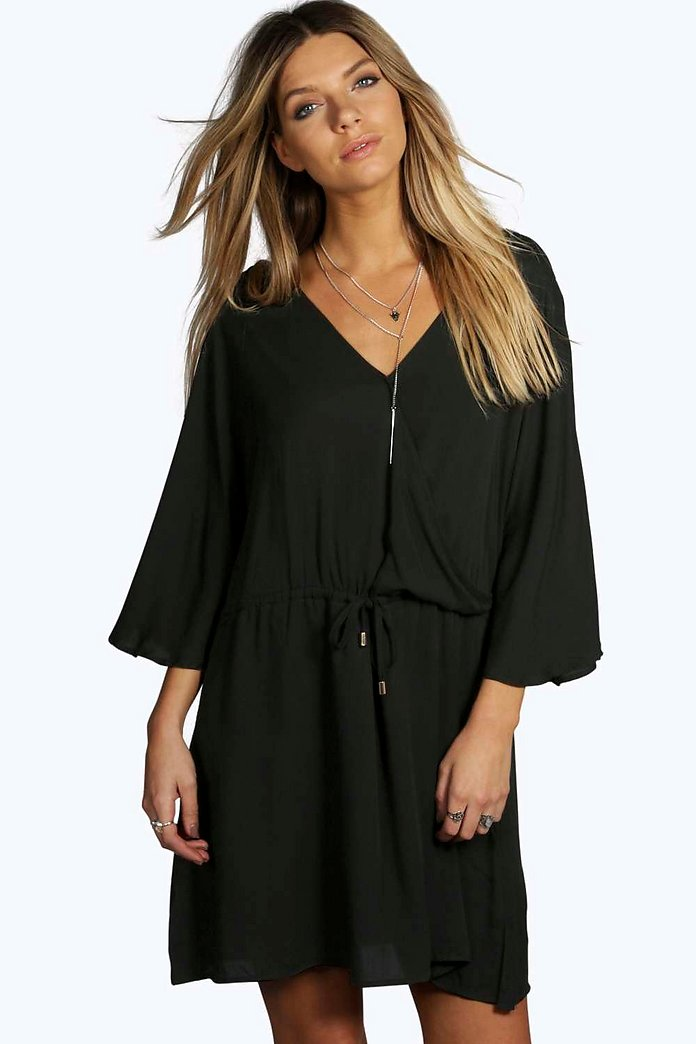 Rita Wrap Front Bell Sleeve Skater Dress
