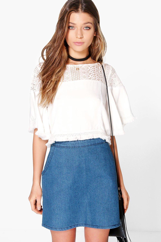 Zip Back Denim Mini Skirt - indigo