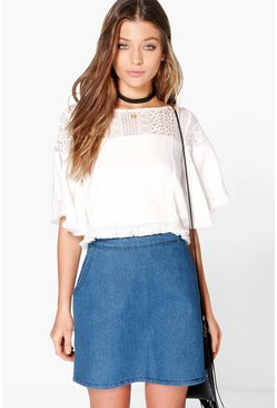 Hannah Zip Back Denim Mini Skirt