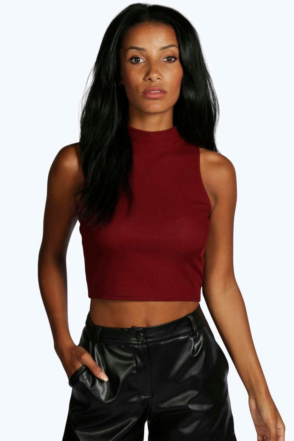 Angela Ribbed High Neck Sleeveless Top