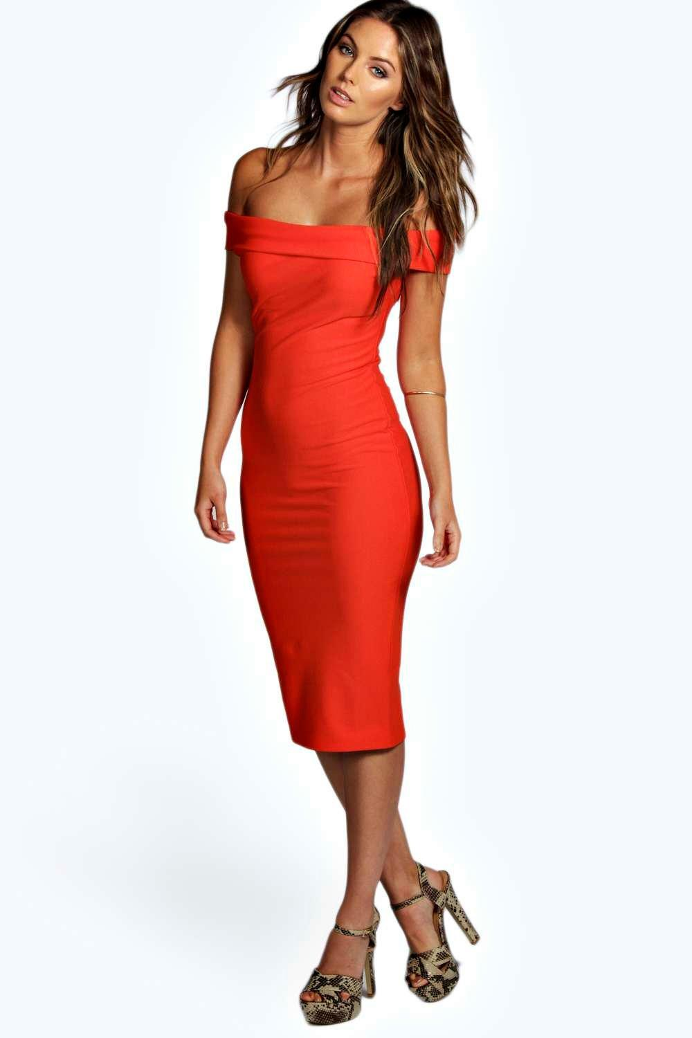 Meli Crepe Off Shoulder Midi Bodycon Dress