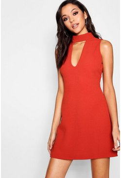 Sia Choker Plunge Cut Away Shift Dress