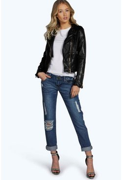Amelia Low Rise Light Distressed Girlfriend Jeans