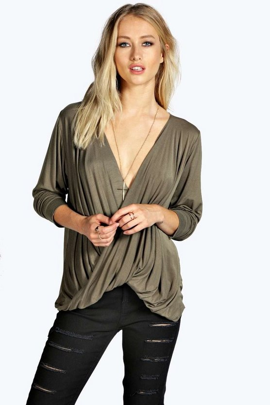 Jayne Plunge Neck Drape Long Sleeved Top
