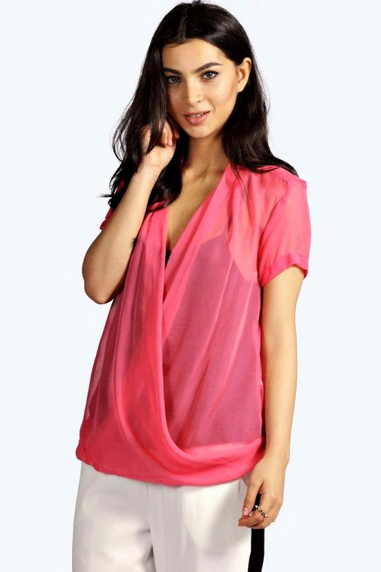 Hope Wrap Front Sheer Woven Blouse