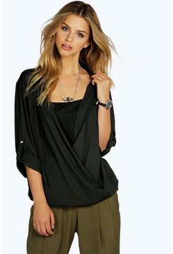 Hannah Wrap Front Double Layer Chiffon Shirt