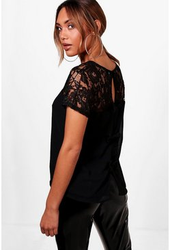 Hattie Lace Yoke Bow Back Woven Shell Top