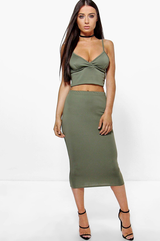 Scuba Cross Bralet & Midi Skirt CoOrd Set  khaki