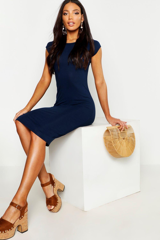 Cap Sleeve Jersey Bodycon Midi Dress
