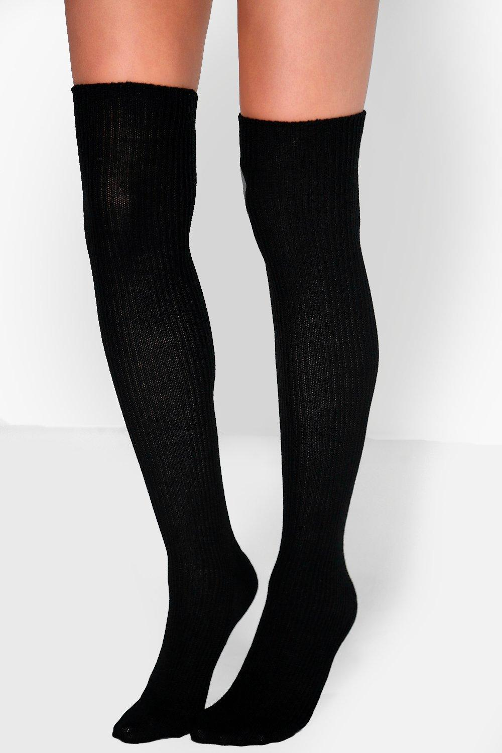 Chunky Knit Knee High Socks  black