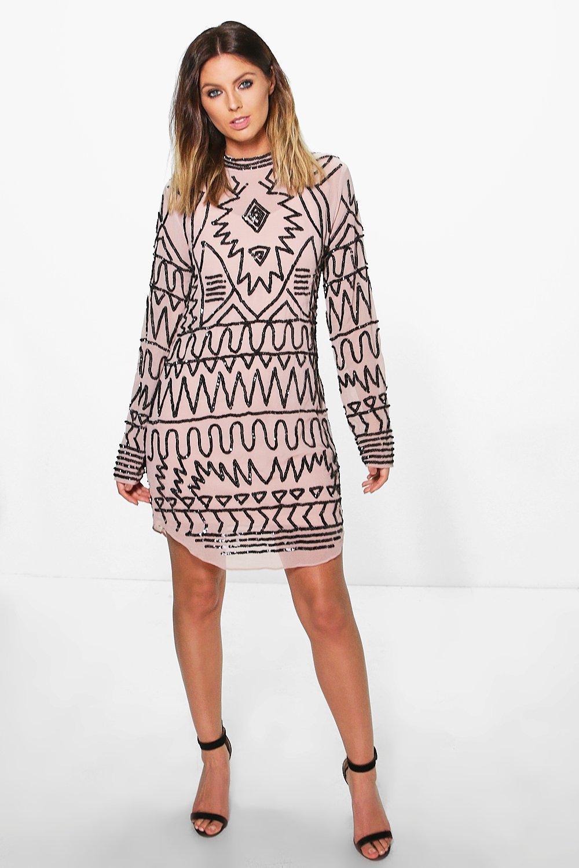 Lily Embellished High Neck Shift Dress  mink