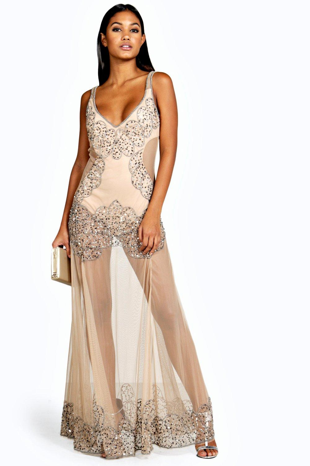 boohoo Boutique Naty Embellished Placement Maxi Dress - nude $80.00 AT vintagedancer.com
