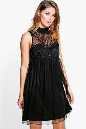 Boutique Aida Beaded High Neck Babydoll Dress