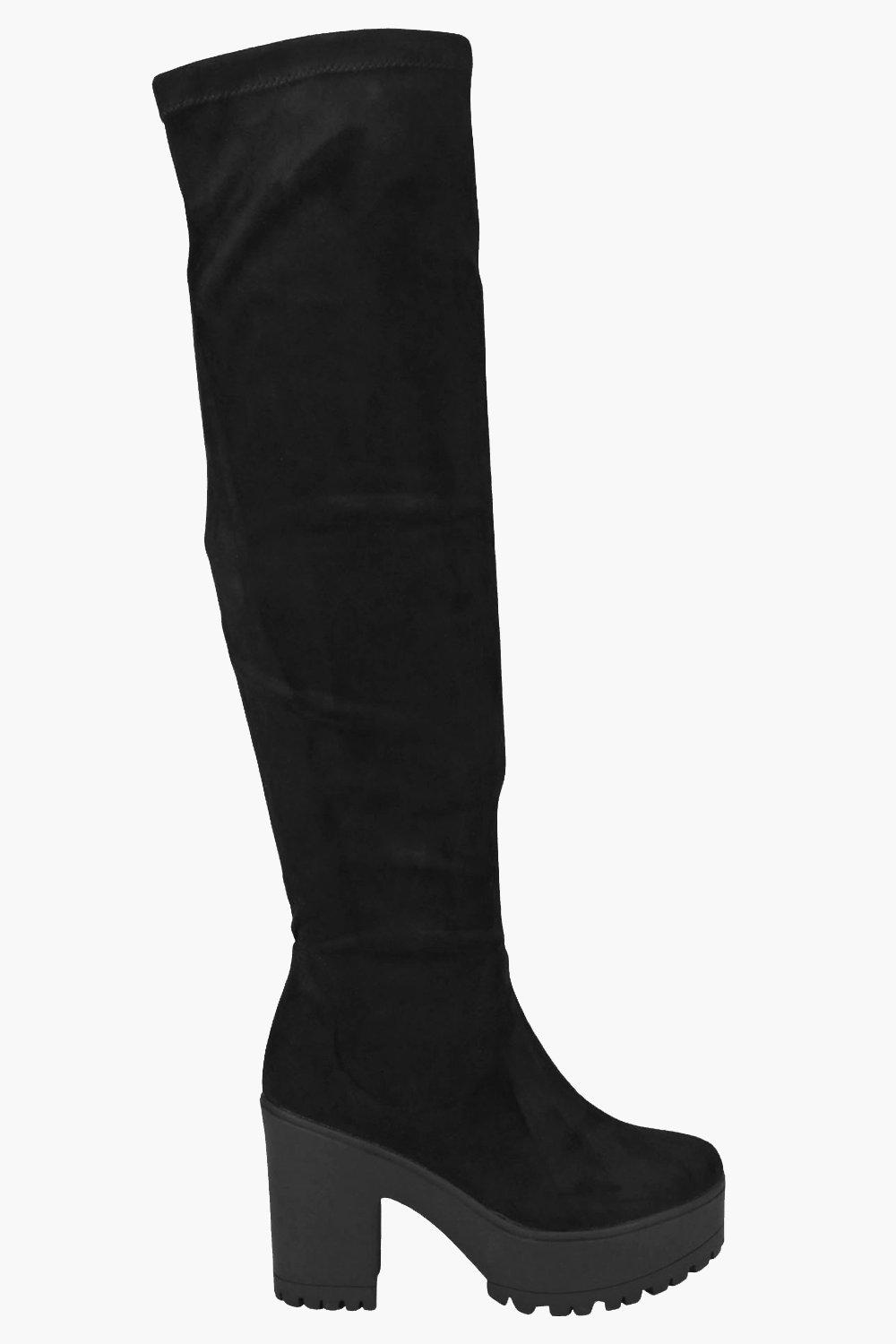 Maya Over Knee Block Heel Cleated Boots