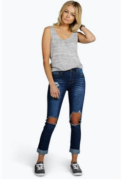 Jody High Waisted Distressed Knee Mom Jeans