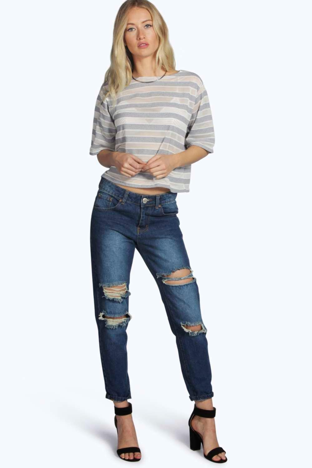 Jodie Distressed Mom Jeans