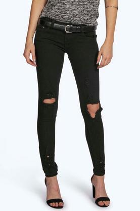Louise Low Rise Distressed Skinny Jeans