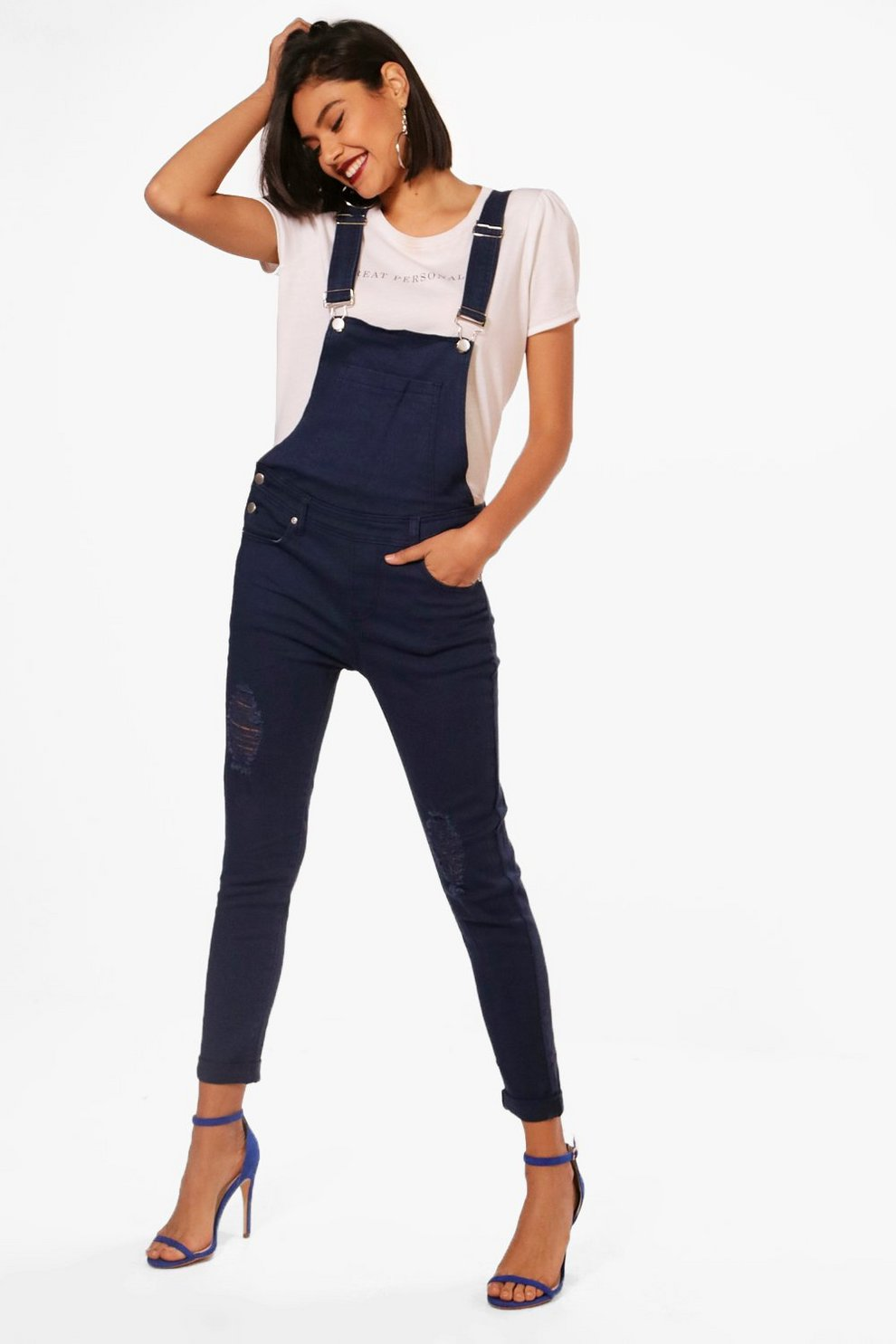 Sale Boohoo Slim Fit Distressed Denim Dungarees Extremely Get To Buy Cheap Price TChWWUk7P1