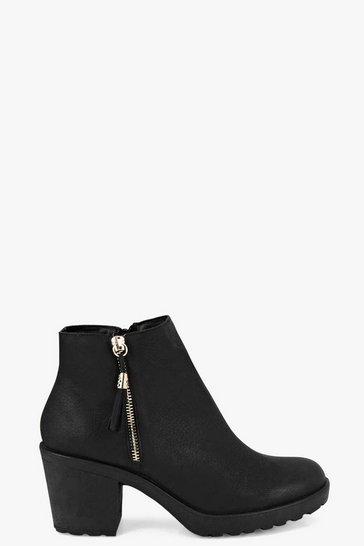 Black Fringe Trim Block Heel Chelsea Boots