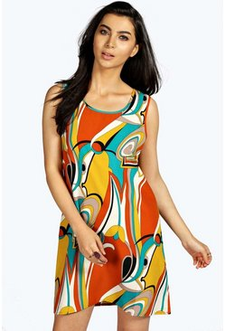 Alina 60`s Swirl Print Woven Shift Dress