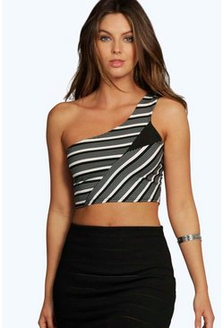Maisie One Shoulder Stripey Crop Top