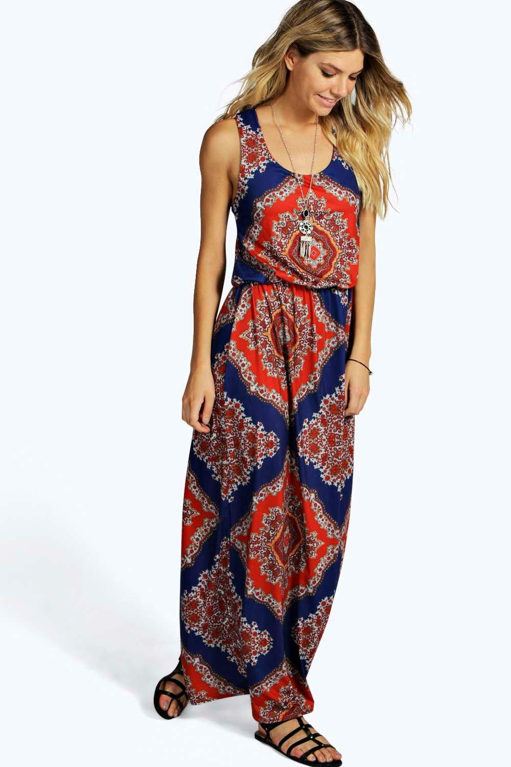 boohoo Mellisa 70's Paisley Bagged Over Maxi Dress - multi