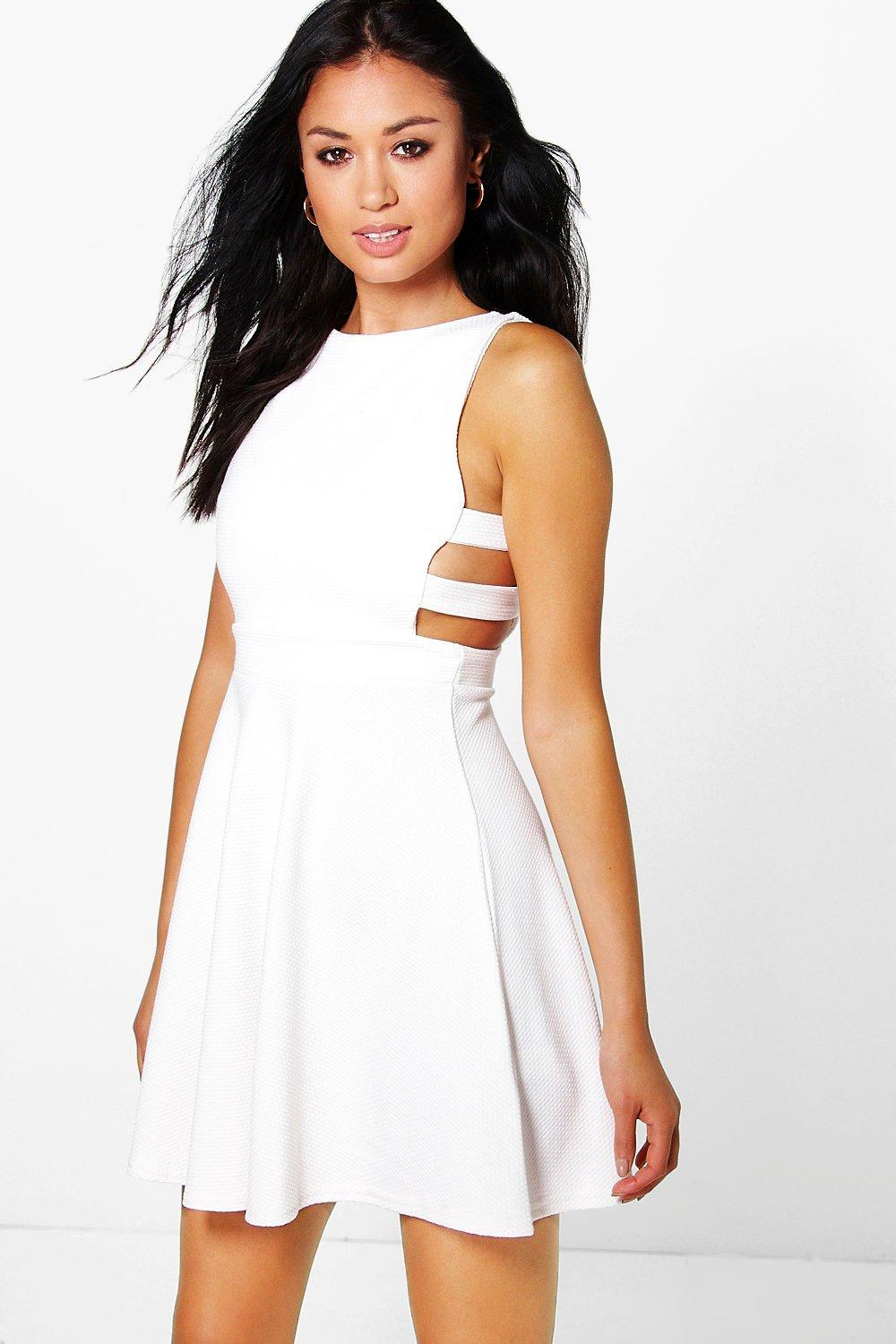 Roxey Textured Cut Out Skater Dress