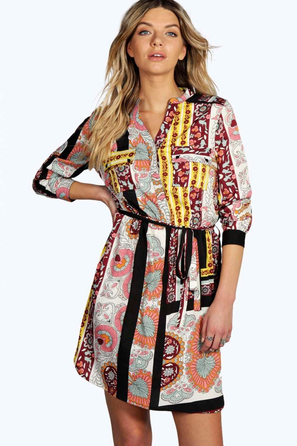 Editha Scarf Paisley Print Shirt Dress