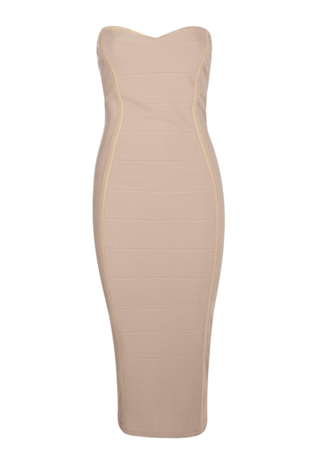 1deb6688540a Boohoo-Womens-Gia-Bandeau-Bandage-Midi-Bodycon-Dress thumbnail