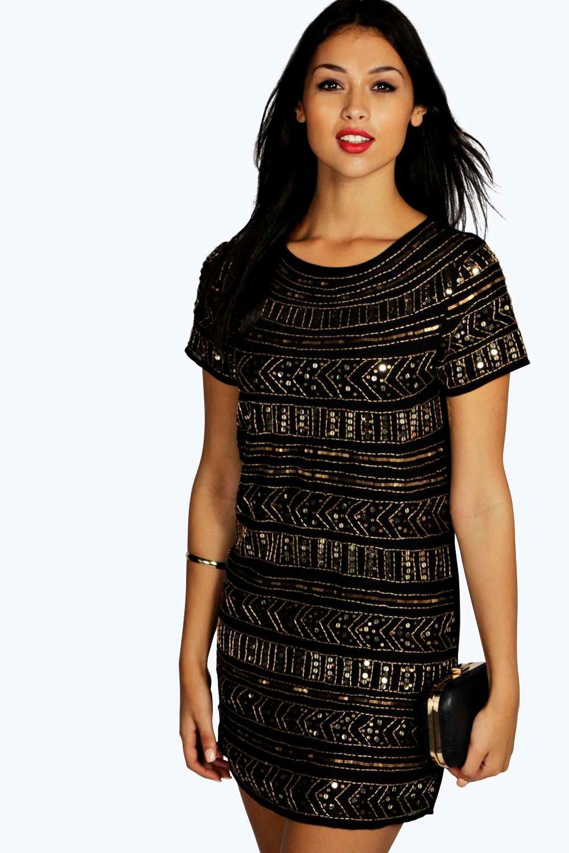 Viola Embellished Shift Dress  black