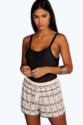 Boutique Mia Embellished Tassel Runner Shorts