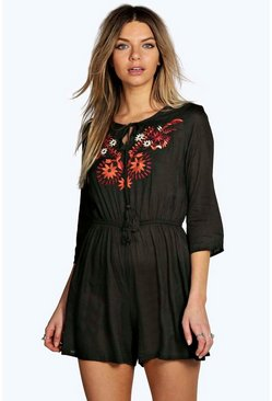 Boutique Ann Embroidered Bell Sleeve Playsuit