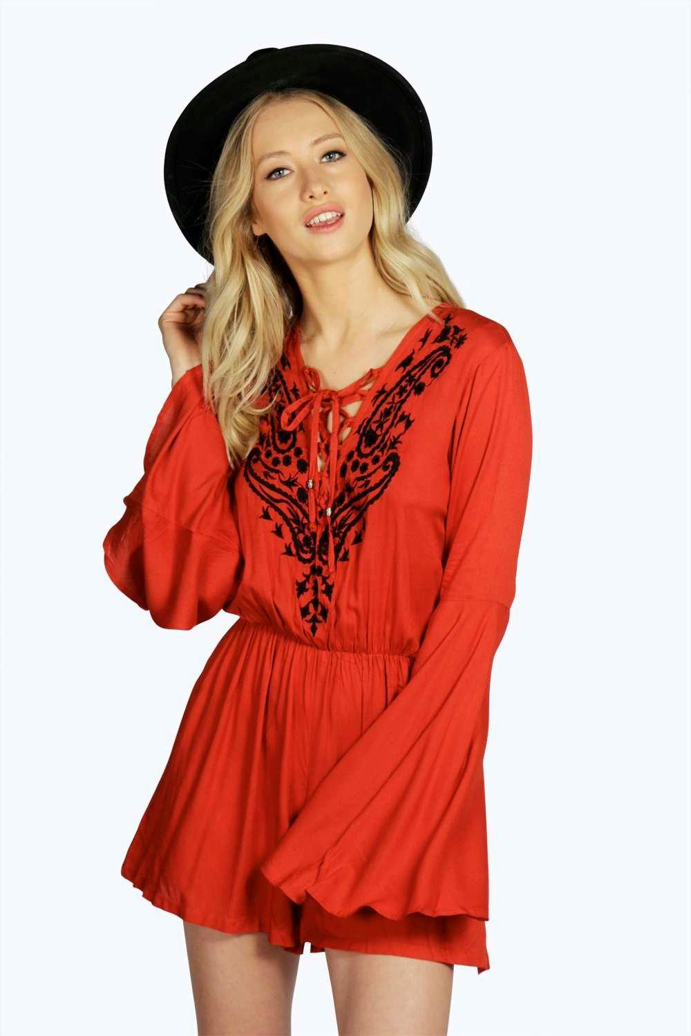 Boutique Isla Lace Up Front Bell Sleeve Playsuit