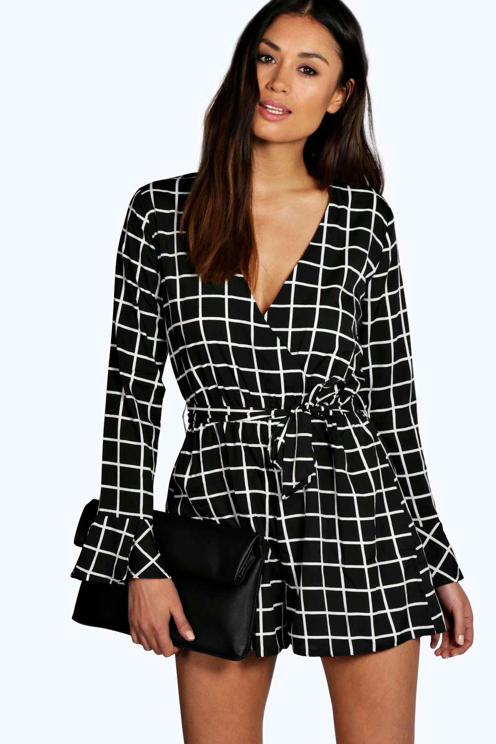 Maya Grid Check Wrap Over Tie Belt Playsuit