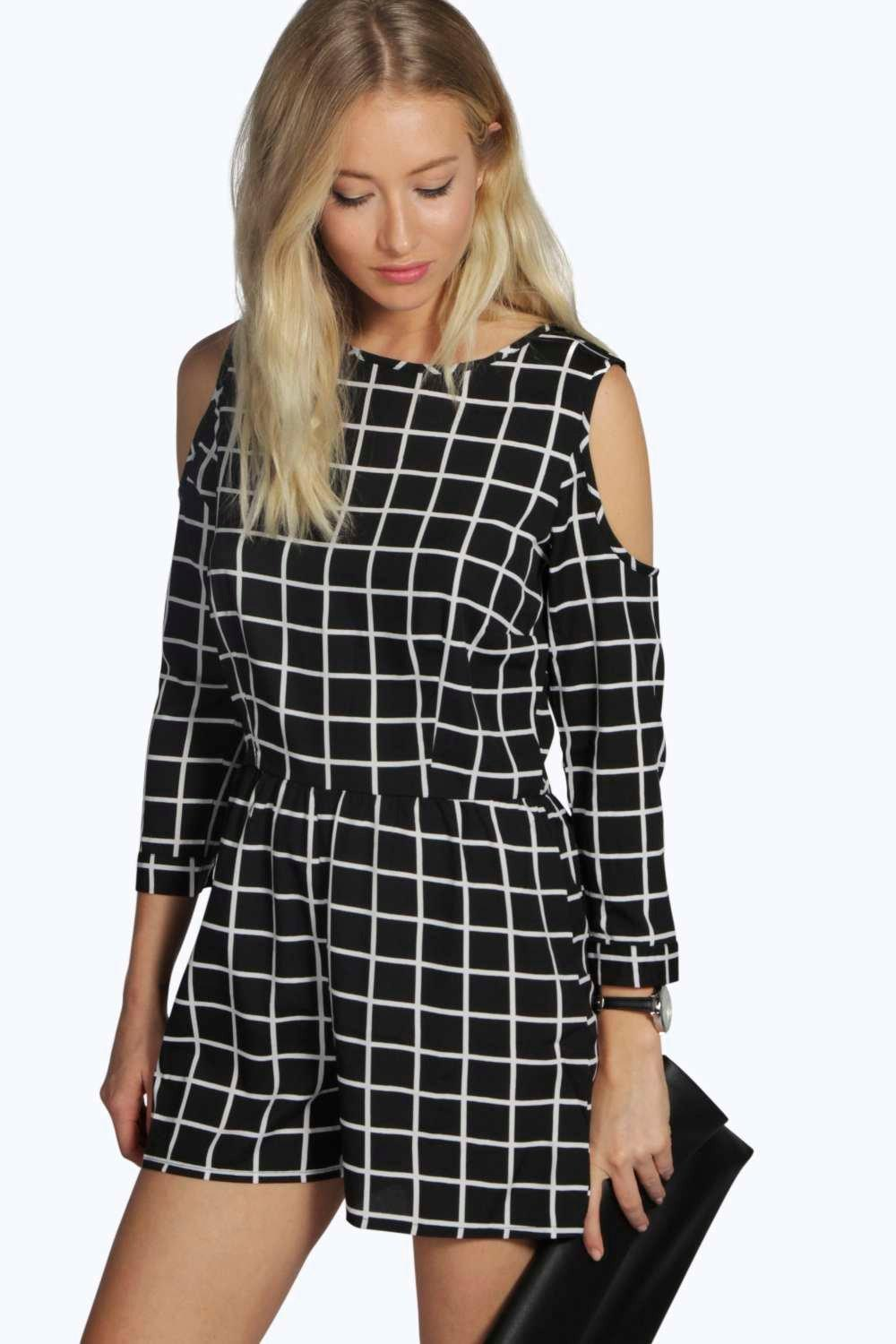 Aimee Grid Check Cut Out Shoulder Playsuit