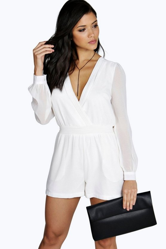 Kate Gathered Front Chiffon Long Sleeve Playsuit
