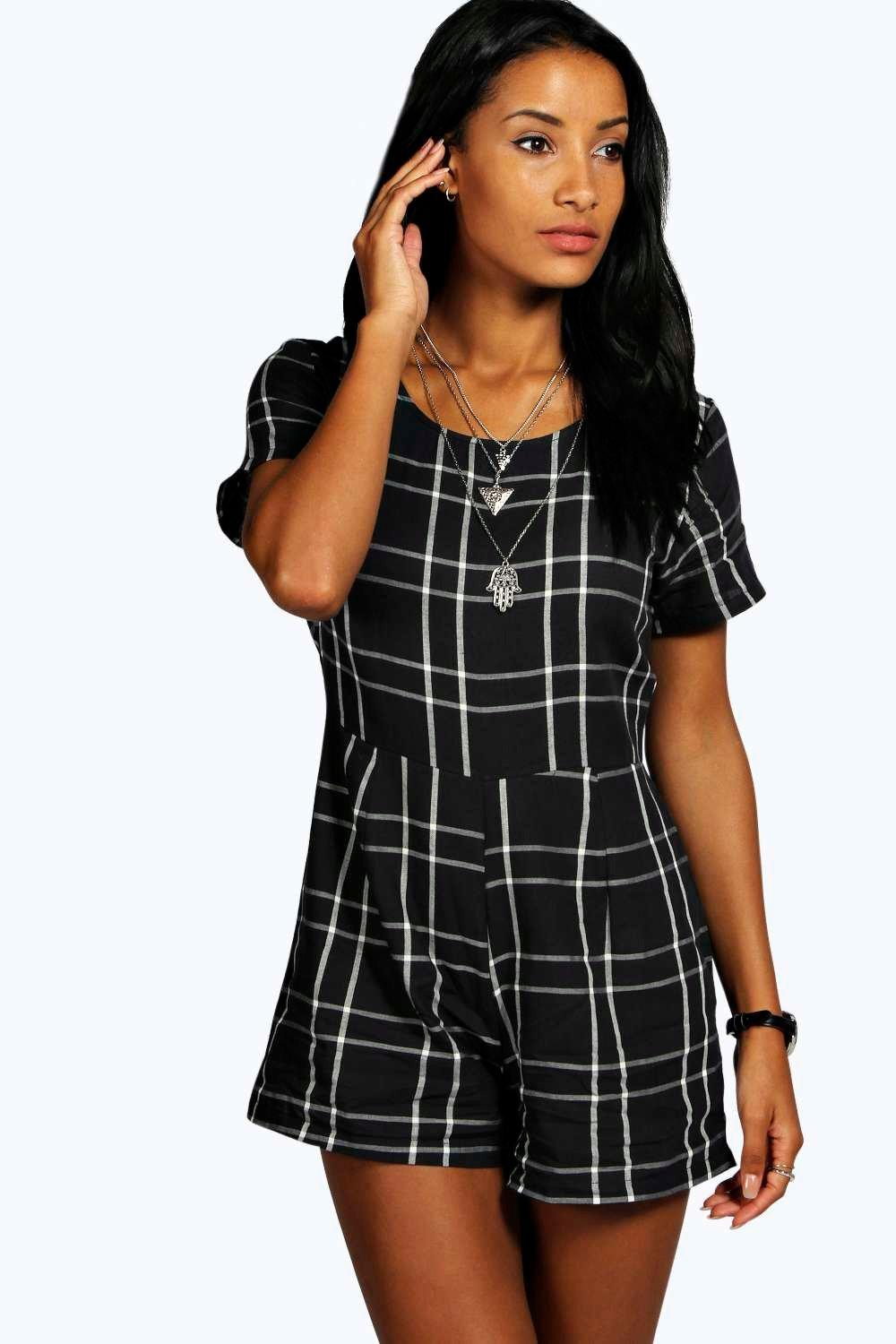 Georgia Checked Capped Sleeve Woven Playsuit