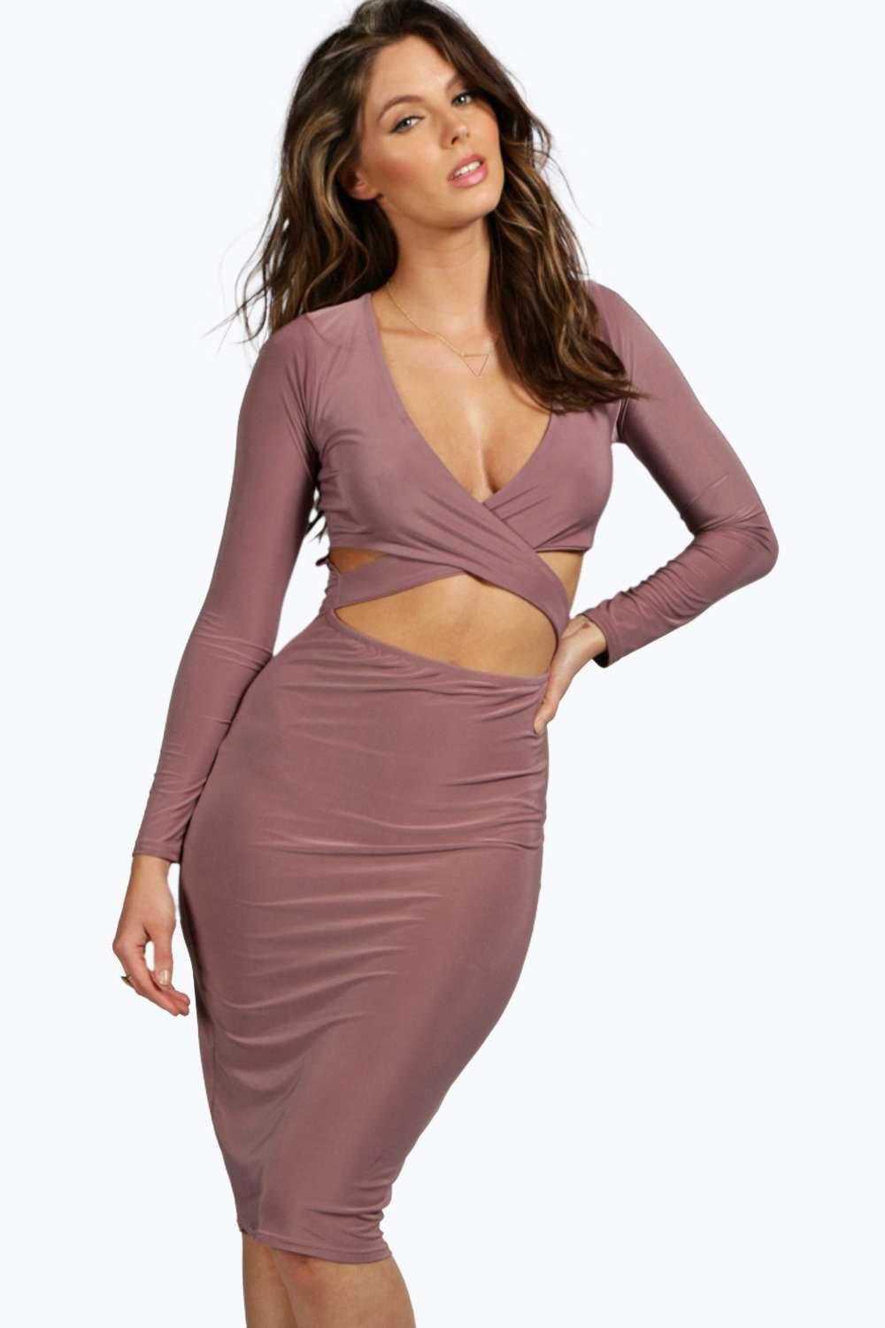 Eve Slinky Cross Front Midi Bodycon Dress