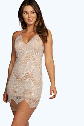 Boutique Sierra Lace Plunge Bodycon Dress