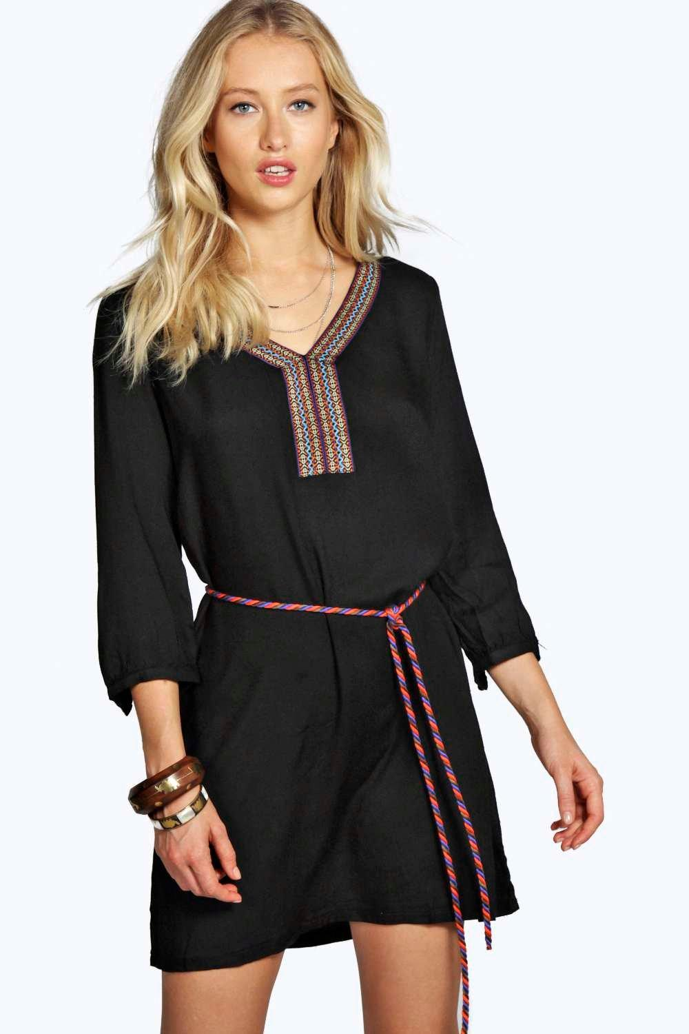 boohoo Giovanna Ethnic Tunic Dress - black