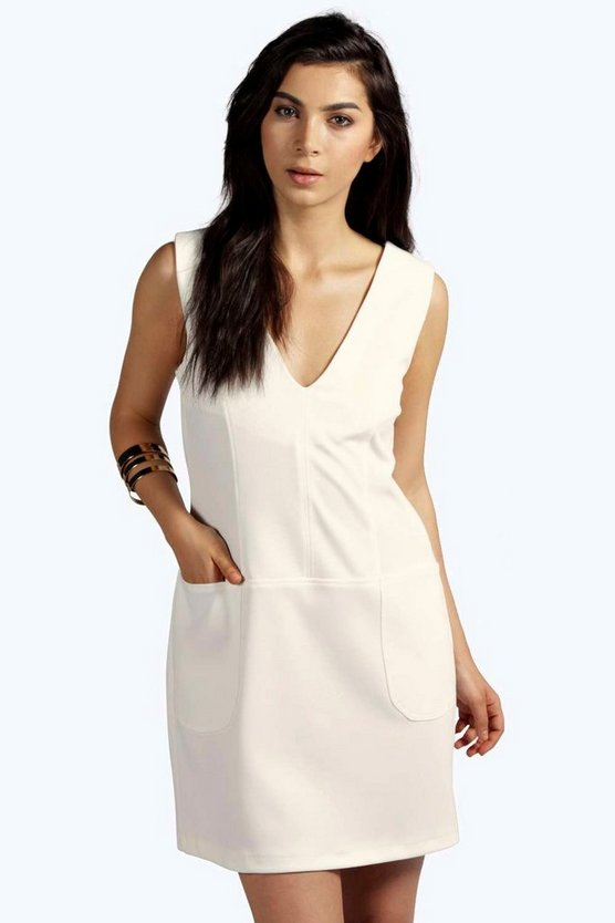 Paula Plunge Sleeveless Shift Dress