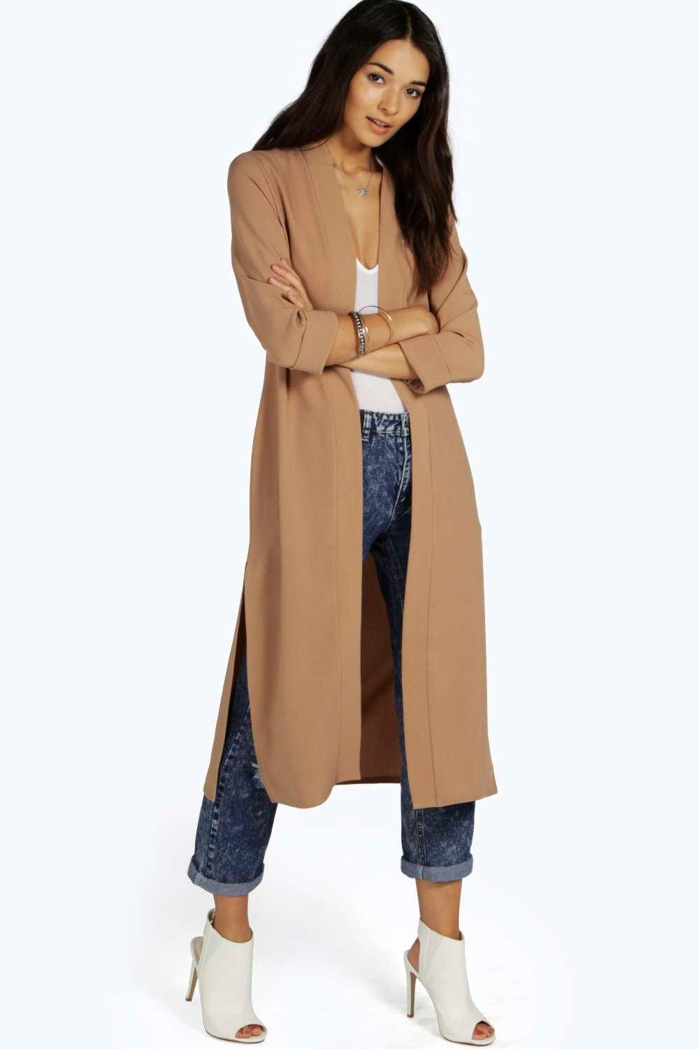 Turn Up Cuff Duster Coat camel