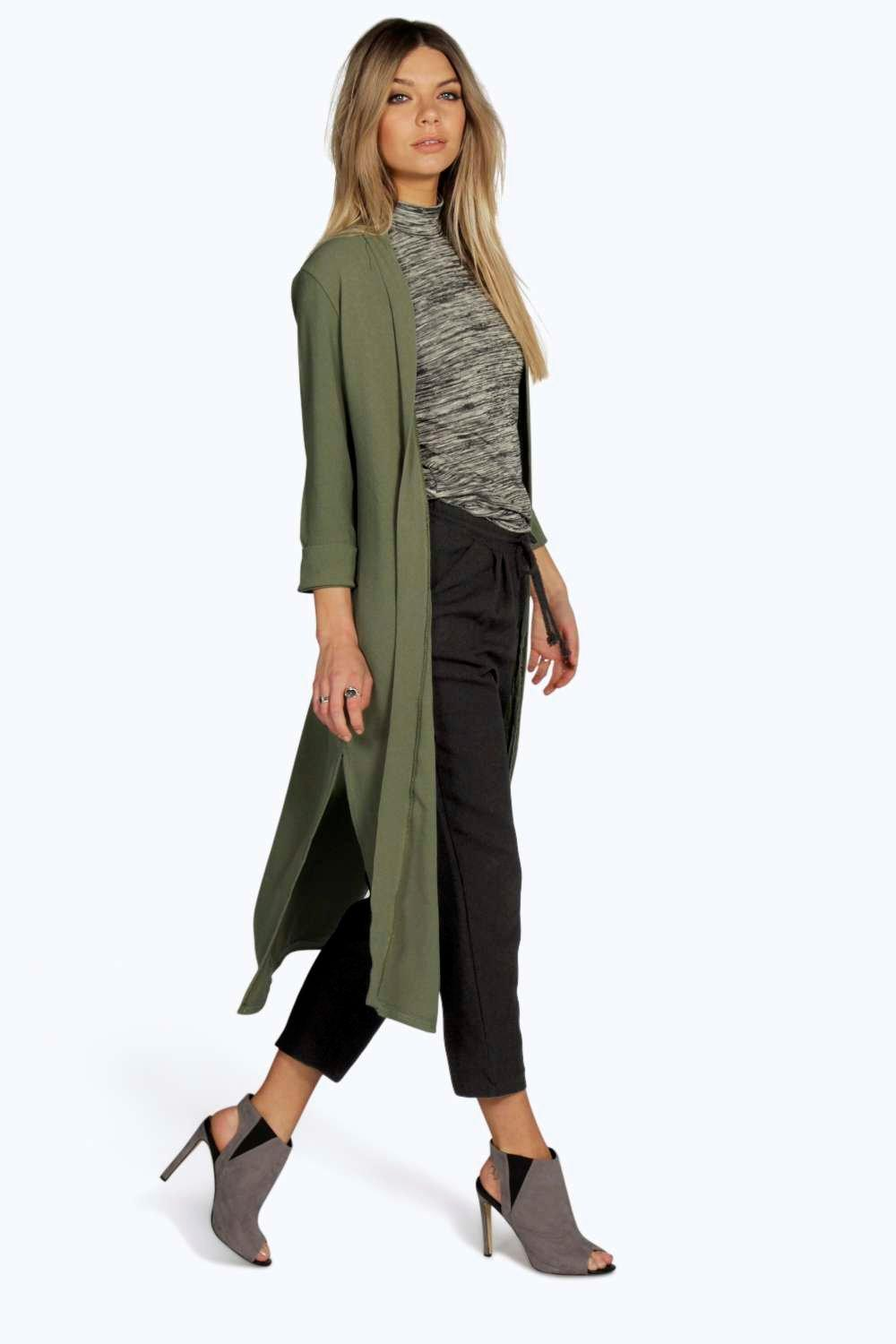 Turn Up Cuff Duster Coat khaki