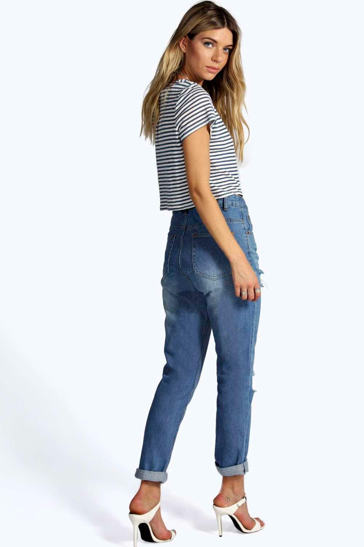 boohoo damen eve mom jeans mit hohem bund und rissen im. Black Bedroom Furniture Sets. Home Design Ideas