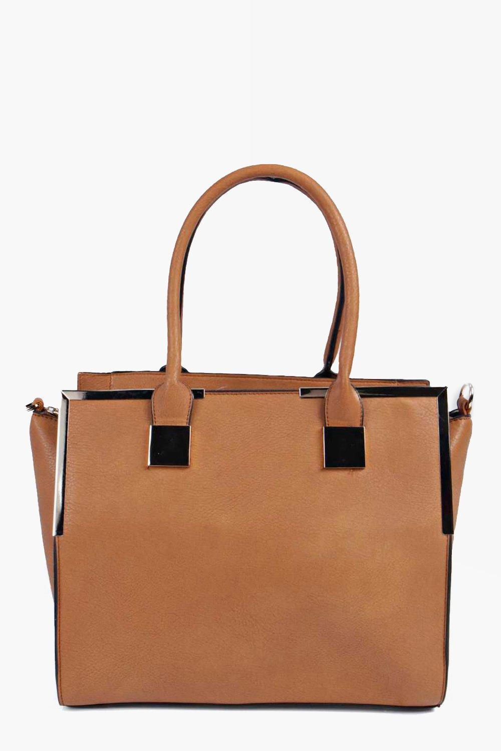 Gold Trim Day Bag tan