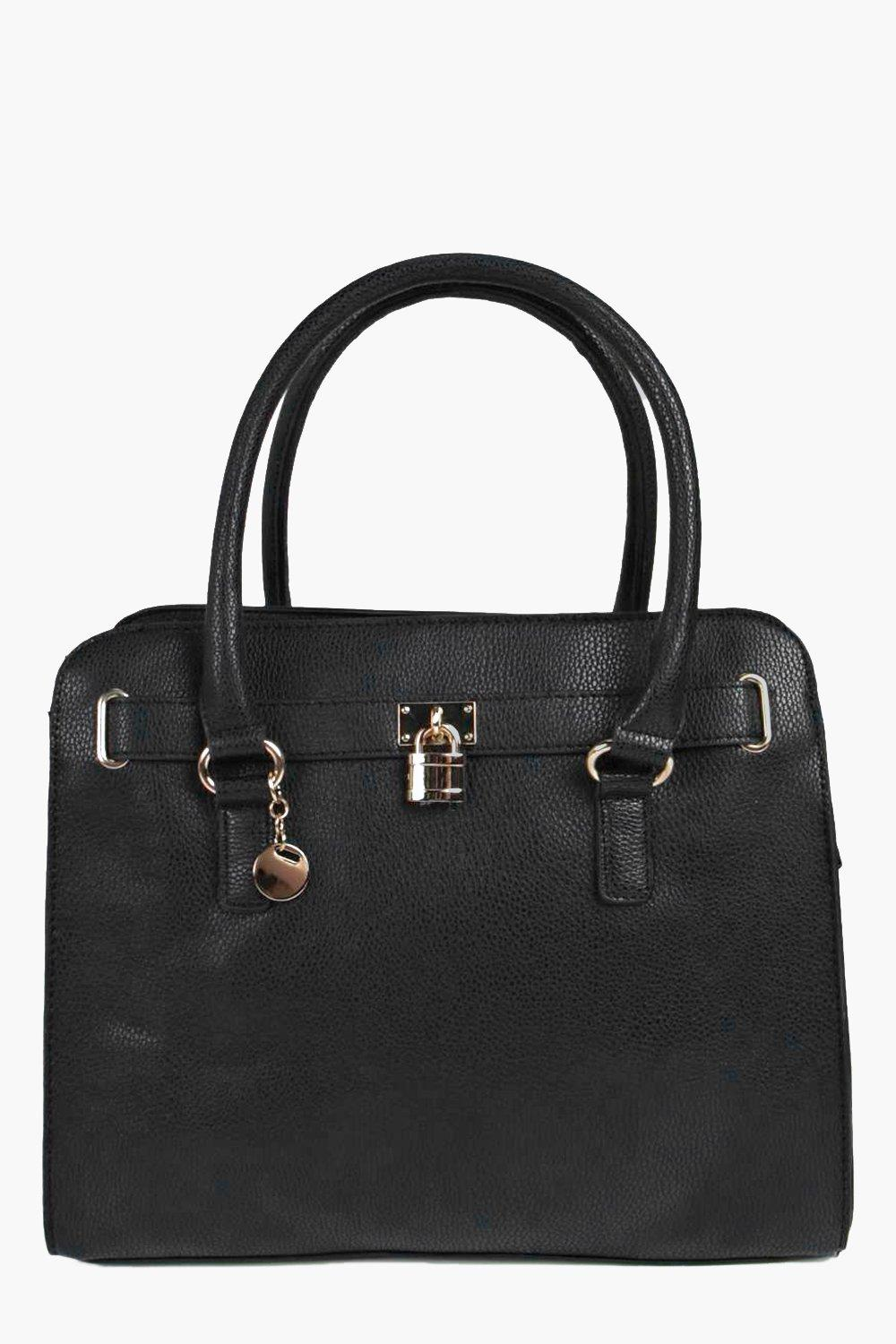 Structured Day Bag With Padlock Detail black
