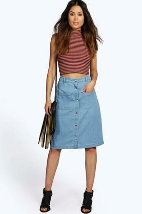 Mya Button Through 2 Pkt Denim Midi Pencil Skirt