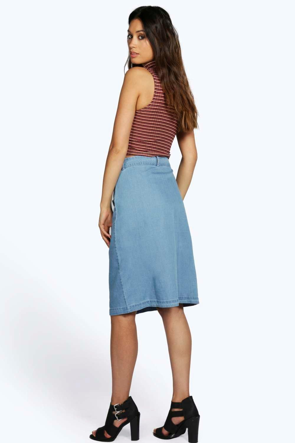 Mya Button Through 2 Pkt Denim Midi Pencil Skirt | Boohoo