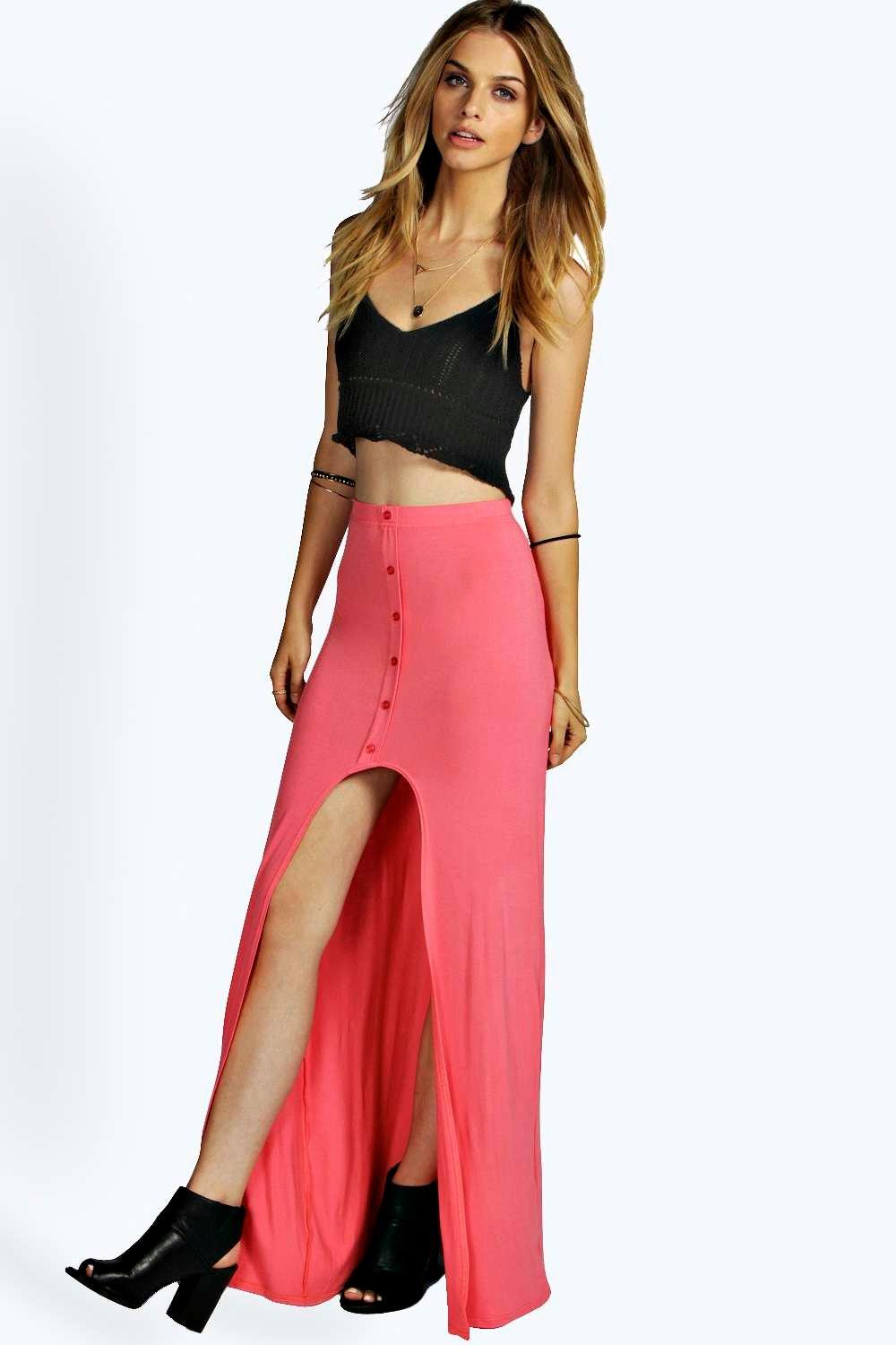Product photo of Dip hem button through maxi skirt coral