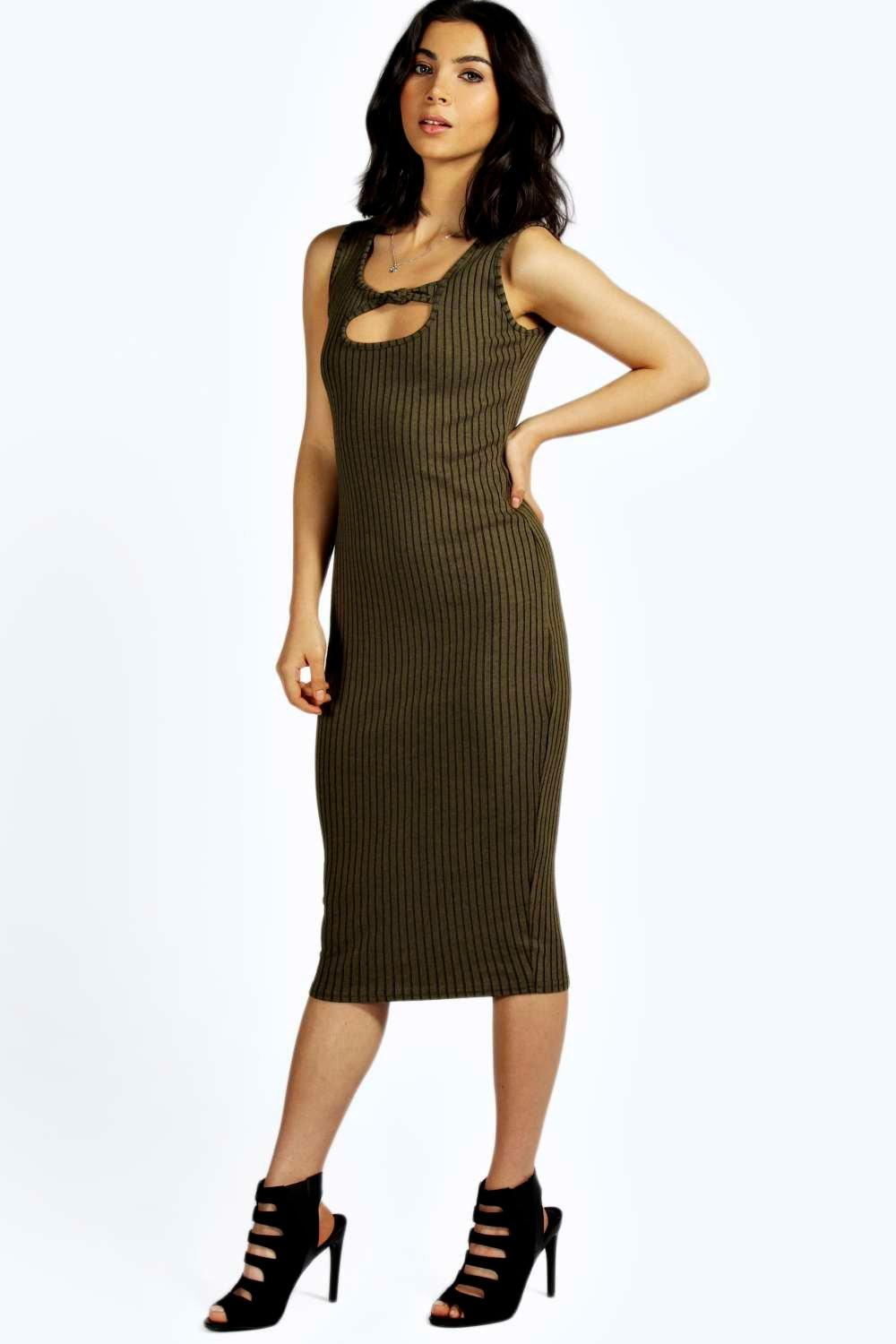 Rianna Over Dye Knot Front Midi Dress